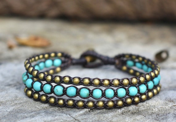 Turquoise Layer Brass Bracelet