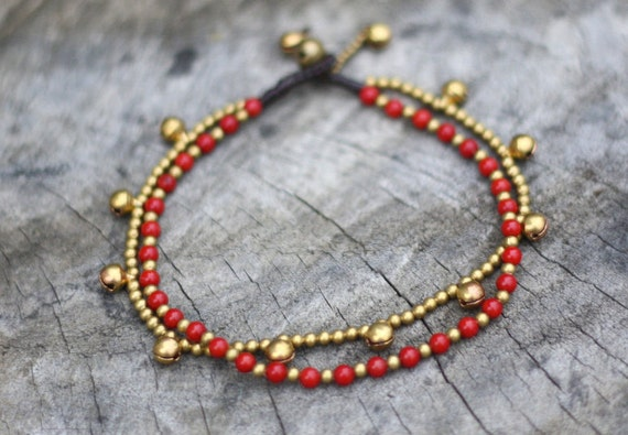 Red Chain Layer Brass Anklet