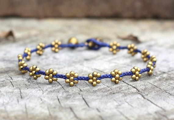 Flower Brass Blue Anklet