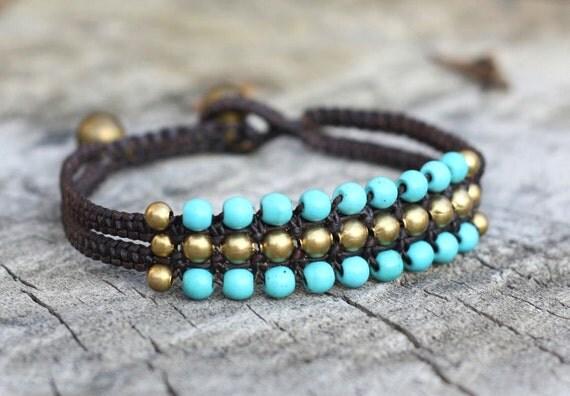 Turquoise Brass Hip Bracelet