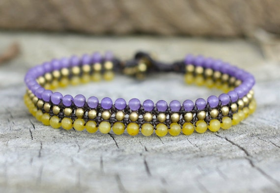 Purple and Lemon Flat Brass Anklet