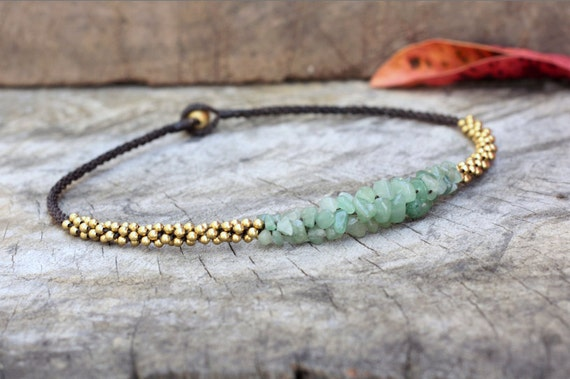 Jade Stone Brass Necklace