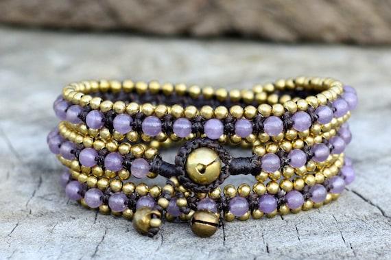 Lavender Triple Wrap Brass Bracelet