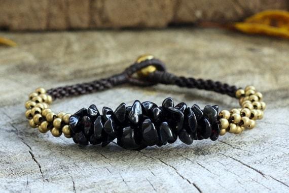 Black Stone Brass Bracelet