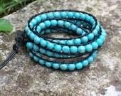 Handmade Turquoise Bead and Leather Wrap Bracelet