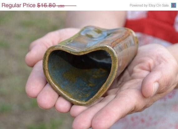 ON SALE Heart shaped ceramic bud vase or pencil holder