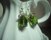 Peridot and Purple Cluster Earrings
