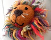 Plush Lion Felt Toy With Rattle - Hand Knit & Felted Wool