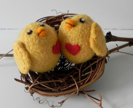 Reserved- Plush Felt Toy Baby Chicks Set- Small- Hand Knit & Felted Wool Toys