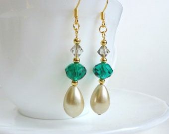 Aqua and pearl drop earrings
