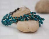 Sticks and Stones  Five Strand Waxed Irish Linen and Japanese Seed Beaded Bracelet