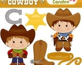 Little Cowboy - Digital Clip Art - Personal and Commercial Use - scrapbooking, horse shoe, boot, sheriff badge, rope