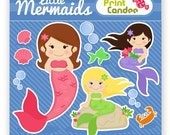 Little Mermaids - Digital Clip Art - Personal and Commercial Use - scrapbooking, card making, girl, pink, purple