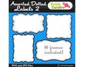 Assorted Dotted Labels 2 (16 Pack) - Personal and Commercial Use - digital clipart frames clip art cute modern