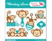 Monkey Love - Digital Clip Art - Personal and Commercial Use - valentines day for boys jungle monkey cute animals