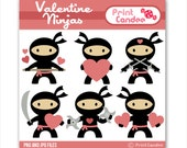 Valentine Ninjas - Digital Clip Art - Personal and Commercial Use - valentines day for boys karate nunchuks