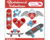 Skateboard Valentines - Digital Clip Art - Personal and Commercial Use - valentines day for boys skate board punk grunge