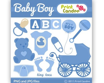 Baby Boy - Digital Clip Art - Personal and Commercial Use - baby shower, invitation, announcement