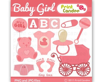 Baby Girl - Digital Clip Art - Personal and Commercial Us - baby shower rattle teddy bear blocks