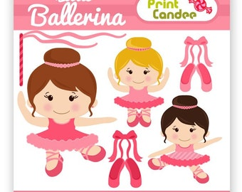 Little Ballerina - Digital Clip Art - Personal and Commercial Use Clip Art - girl pink dance ballet streamer slippers