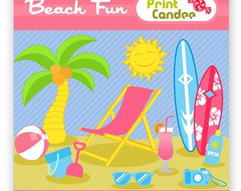 Beach Fun - Digital Clip Art - Personal and Commercial Use Clip Art - graphics, scrapbooking, card making, summer