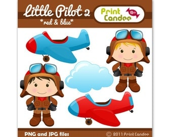 Little Pilot 2 (Red & Blue) -  Digital Clip Art - Personal and Commercial Use - graphics, scrapbooking, card making