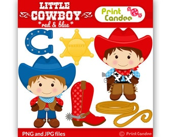 Little Cowboy (Red & Blue) - Digital Clip Art - Personal and Commercial Use -horse shoe, boot, sheriff badge, rope