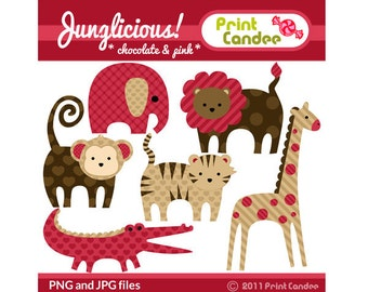 Junglicious (Chocolate & Pink) - Digital Clip Art - Personal and Commercial Use - jungle animals, lion, monky, tiger