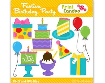 Festive Birthday Party  - Digital Clip Art - Personal and Commercial Use - balloon cake hat gift candle