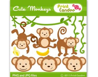Cute Monkeys - Digital Clip Art - Personal and Commercial Use - jungle monkey vine banana cute animals nursery pattern