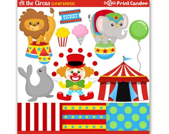 At the Circus - Digital Clip Art - Personal and Commercial Use - circus clown lion elephant tent