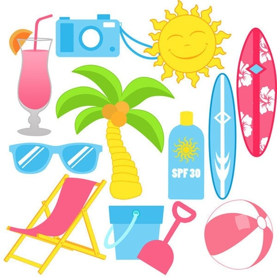 Beach Fun Digital Clip Art Personal and Commercial Use