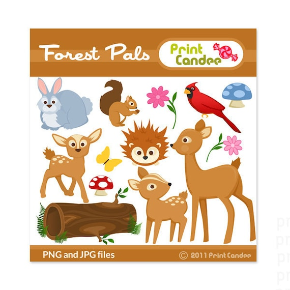 Forest Pals - Digital Clip Art - Personal and Commercial Use - scrapbooking, card making, party, design elements