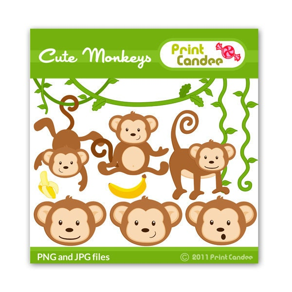 Cute Monkeys Digital Clip Art Personal and Commercial Use