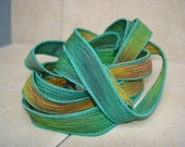 Autumn 5 hand painted silk ribbons