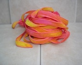 Tropical Burst 5 hand dyed silk ribbons