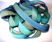 Blue Reef 5 hand painted 42 inch silk ribbons