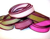 """Wine and Roses 5 hand dyed silk ribbons each 42"""" in length"""