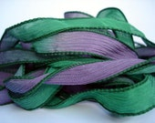 Tetris 5 hand painted silk ribbons Hunter green, Emerald green, and soft tones of Mauve in a  42 inch  length