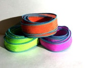 Neon  trio 3 coordinating hand dyed silk ribbons