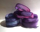 Dazzle  trio 3 coordinating hand dyed silk ribbons