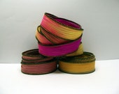 Flutter Trio 3 coordinating hand dyed silk ribbons by Color Kissed Silk