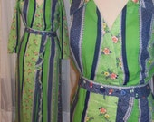 To the Max - 60s BOHO Dress - Floral Green Long Wrap Patchwork Dress