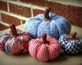 Stuffed Pumpkin Whatnots - set of 4 in Red, White and Blue