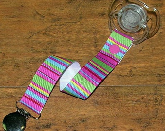 Pink Blue Green Horizontal Stripe Soothie Pacifier Clip