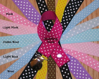 Swiss Dots Soothie / Pacifier Clip (pinks, blues, purple, brown, yellow, black)