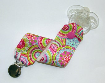 Pink Floral Pacifier Clip Soothie Holder