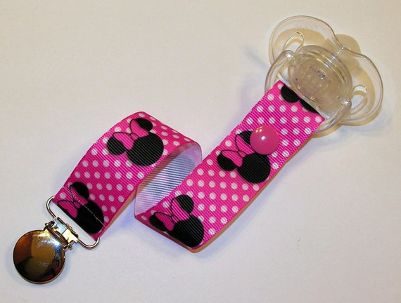 Pink Minnie Mouse Pacifier Soothie Clip