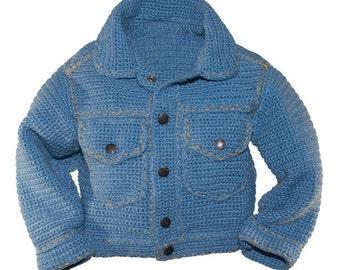 Jean Jacket Crochet Pattern, Baby Crochet Pattern, Baby Boy Crochet Pattern, Baby Girl Crochet Pattern