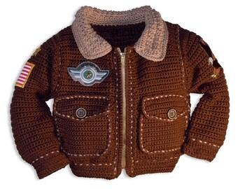 Crochet Patterns, Crochet Pattern Baby, Crochet Pattern Girl, Crochet Patterns Boy, Air force Jacket, Military Jacket, Bomber Jacket